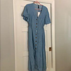 NWT Maxi button up denim dress